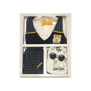 Baby Boy 5 Li Bow Tie Layette Set Hospital Outlet Antiallergic Cotton Fabric Gloves Gifted 14724