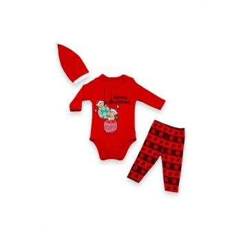 Merry Chirstmas Printed Baby Suit with Christmas Hat VIP09475