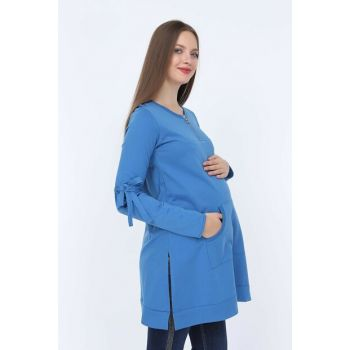 Gör & sin Sleeves Lace Detailed Pregnant Indigo Sweatshirt 8634