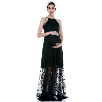 Short Lined Starred Tulle Maternity Dress Black ML011500X