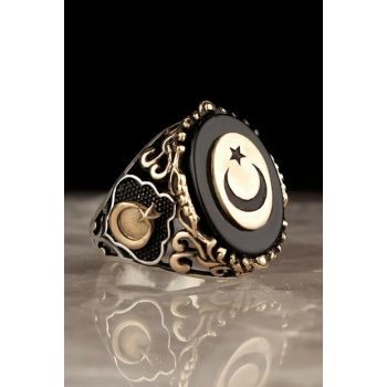 Moon Star Onyx Zirkon 925 Sterling Mens Silver Ring EGYT-167