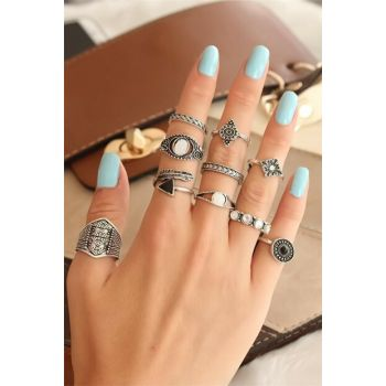 Women's Authentic Tumbled Silver Color Metal Ring Set - BF15444 BYK1070-KS