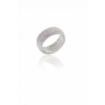 Women's Tamtur Five Row Zircon Stone Ring White-20 SGTL5730-10894