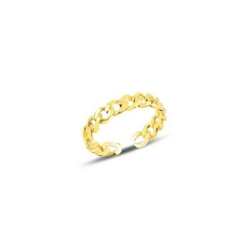 Silver Adjustable Gold Chain Model Ring SGTL9959GOLD