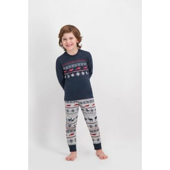 Navy Blue Deer Boy Pajama Set AR-260-C