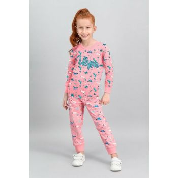 US Polo Assn Licensed Candy Pink Girls' Pajamas Set US-564-C-V1