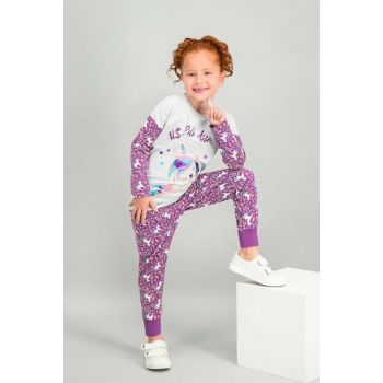 US Polo Assn Licensed Carmelarm Girl's Pajamas Set US-560-C-V1