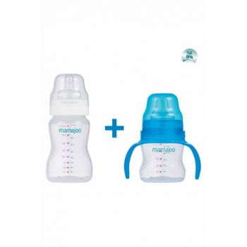 Educational Glass with Handle 150ml & Silver Feeding Bottle 250ml / Blue MMJ9772SET