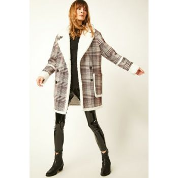Women's Mix Inside Fleece Buttoned Oversize Stamp Coat FN01729