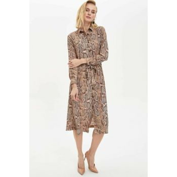 Women's Brown Printed Long Sleeve Woven Dress M7515AZ.19WN.BN1
