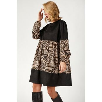 Women's Mix Zebra Pattern Detailed Velvet Dress DD00416 DD00416