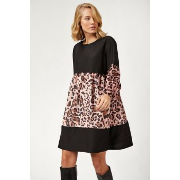 Women Plus Size Leopard Print Velvet Dress DD00409 DD00409