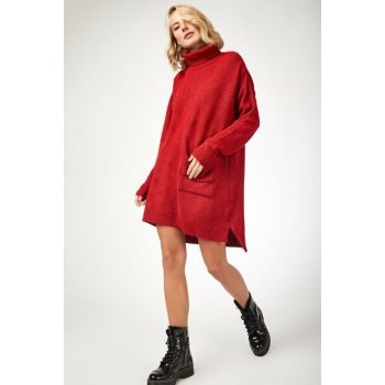 Women Red Turtleneck Lycra Cotton Sweater Dress DD00317