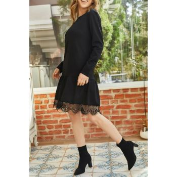Women's Black Skirt Lace Detailed Dress 9KXK6-42876-02