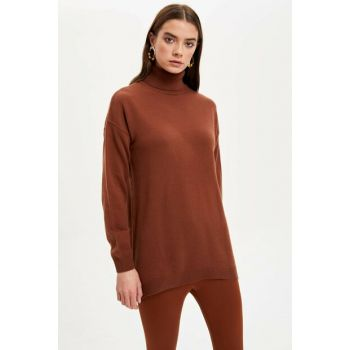 Women's Brown Turtleneck Basic Knitwear Tunic J4131AZ.19WN.BN319