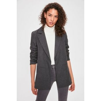 Gray Pocket Detailed Blazer Jacket TWOAW20CE0122