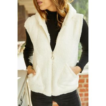 Women's Ecru Plush Vest 9YXK4-41824-52