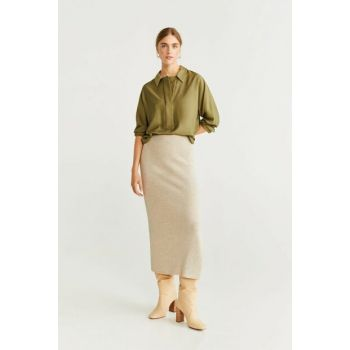 Women's Khaki Color Button Draped Blouse 53023046