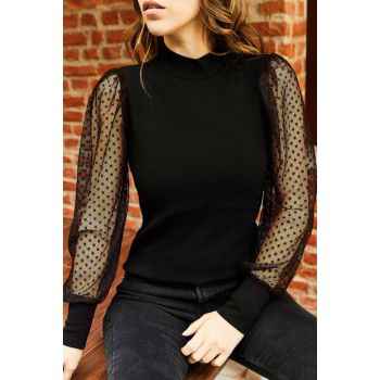 Women's Black Sleeve Gauze Blouse 9KXK2-42854-02