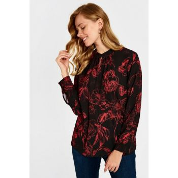 Women's Red Printed Blouse 9WU852Z8