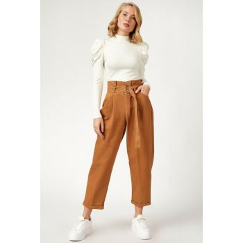 Women's Camel High Waist Balloon Jean YP00091 YP00091