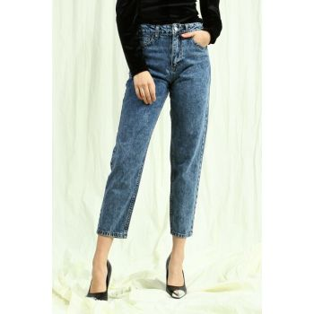 Women's Dark Blue Mom Jeans Pants VECOL-EMO UBB020015A57