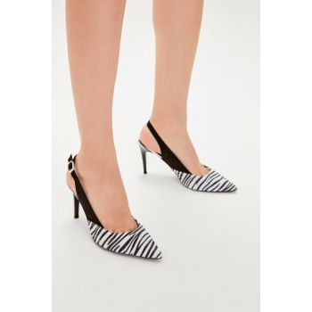 Black Zebra Patterned Women Heels Shoes TAKAW20TO0010