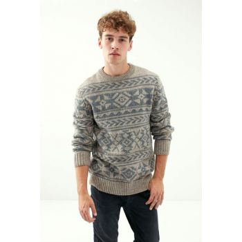 Men's Ecru Melange Patterned Crew Neck Pullover 1197263 306107