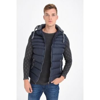 MEN'S Navy Blue Removable Hooded Inflatable Vest 4300-1