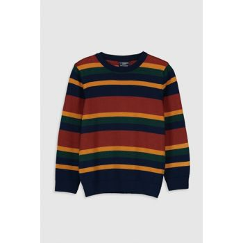 Boys' Navy Blue Striped Lgs Sweater 9W1729Z4