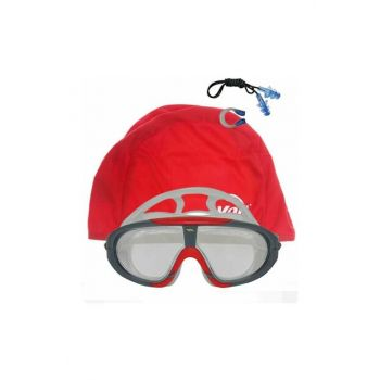 Storm Swimmer Goggle + SYH KRM + Voit Bonnet Red + Ear Nose Plugs 1VTAKG307BONSET