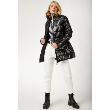 Women's Black Light Shiny Textured Inflatable Coats DD00428 DD00428