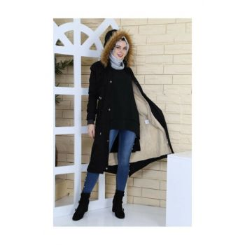 Hooded Gabardine Coat - Black YPR40