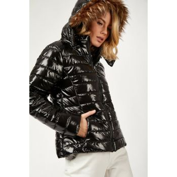 Women's Black Glossy Textured Inflatable Coats DD00429 DD00429