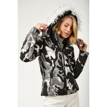Women Black White Camouflage Patterned Inflatable Coats DD00423 DD00423