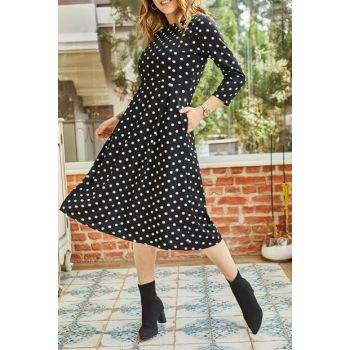 Women's Black Double Pockets Polka Dot Dress 9KXK6-42879-02