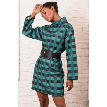 Women's Green Plaid Patterned Sheer Neck Dress ALC-019-048-A
