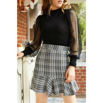 Women's Gray Ruffled Stamp Skirt 9KXK7-42898-03