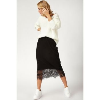 Women Black Lace Detail Lycra Sweater Skirt CR00260