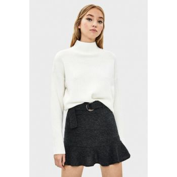 Women's Gray Buckle Frilly Skirt 05754187