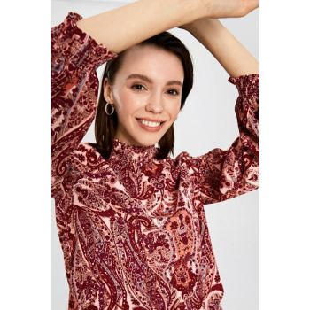 Women's Burgundy Printed Blouse 9WQ195Z8