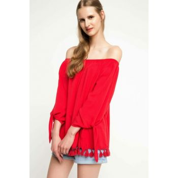 Women's Red Tassel Blouse
