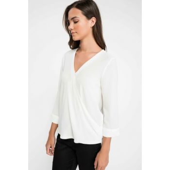 Women's White Double Breasted Blouse J8348AZ.18AU.WT56