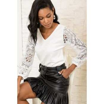 Women's Ecru Back Front V-Neck Sleeves Laced Blouse ALC-017-166-GP