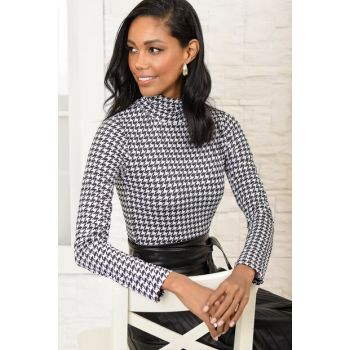 Women's Black Crowbar Patterned Stand Collar Blouse ALC-019-054-LE
