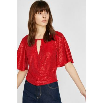 Women's Red Sequined Blouse 9YAK34136FK