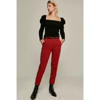 Women Burgundy Leopard Striped Trousers 6326 Y19W109-6326