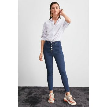 Navy Blue Front Button High Waist Jegging Jeans TWOAW20JE0444