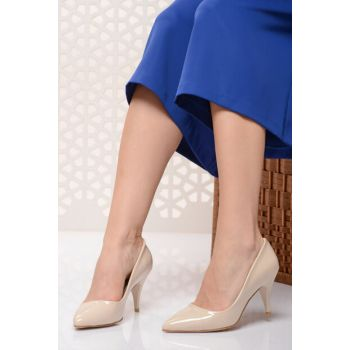 Beige Women's High Heels Shoes 18Y 11905