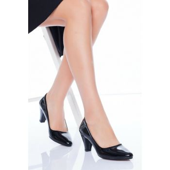 Black Patent Leather Women's Heels Shoes AHT5040